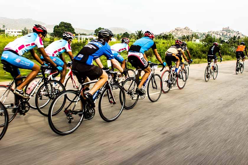 Team Spectrum in the peloton as it races towards Nandi Hill